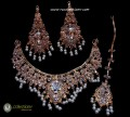 STYLISH TRADITIONAL LOOK GOLDEN BASED DECENT LOOK NECKLACE SET