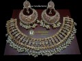 TRADITIONAL LOOK POLKIE STONES WITH GOLDEN BASED GAJRA BEATS NECKLACE SET