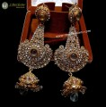 GOLDEN BASED POLKIE STONES BIG SIZE GOLD LOOK INDIAN JHUMKI