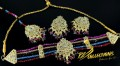 Golden Based Traditional Look Nauratan CHOKER SET with Polkie Stones