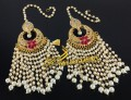 TRADITIONAL LOOK ZIRCON STONES HANGING PEARLS EARRING