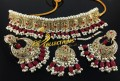 TRADITIONAL LOOK POLKIE STONES GAJRA BEATS NECKLACE SET