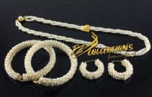 GOLDEN BASED PEARL MALA MATCHING EARRING & BANGLE