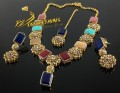 BEAUTIFUL DESIGN TRADITIONAL LOOK SEMI PRECIOUS STONES NAURATAN NECKLACE SET