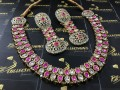 Golden Based Tradional Look NECKLACE SET with Polkie Stones
