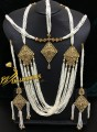 TRADITIONAL LOOK ZIRCON STONES PEARL MALA NECKLACE SET