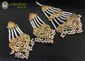 GOLDEN BASED HYDERABADI DESIGN WITH SEMI PRECIOSU STONES NAURATAN JHOOMER WITH MATCHING EARRING