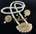 Golden Based with Kundan Stones PENDANT SET with Attached MALA