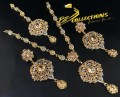 BEAUTIFUL DESIGN TRADITIONAL LOOK POLKIE STONES GOLDEN BASED NECKLACE SET