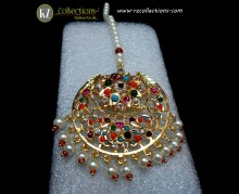 STYLISH GOLDEN BASED WITH HYDERABADI STYLE TEEKA