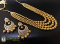 GOLDEN METAL BALLS 4 LAYERS MALA WITH MATCHING POLKIE STONES EARRING