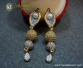 GOLD PLATED ZIRCON TWO TONE INDIAN EARRING