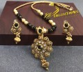 TRADITIONAL LOOK POLKIE STONES GOLDEN BASED MATCHING MALA INDIAN PENDANT SET