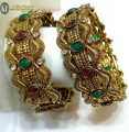 TRADITIONAL LOOK GOLDEN BASED BIG THICK SIZE INDIAN BANGLE