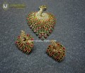 GOLD PLATED ZIRCON PEACOCK INDIAN PENDANT SET