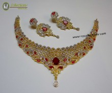 GOLD PLATED ZIRCON INDIAN NECKLACE SET