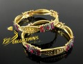 GOLD PLATED ZIRCON SEMI PRECIOUS STONES ANTIQUE TOUCH BANGLE