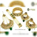 HYDERABADI DESIGN WITH GOLDEN BASED JHOOMER, EARRING, BRACELET ALONG WITH MATCHING BANGLE