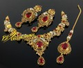 GOLD RHODIUM PLATED SEMI PRECIOUS STONES NECKLACE SET