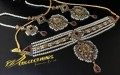 GOLDEN BASED ZIRCON STONES COLLAR GULUBAND NECKLACE SET