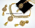 STYLISH TRADITIONAL LOOK WITH ATTACHED KUNDAN NECKLACE SET