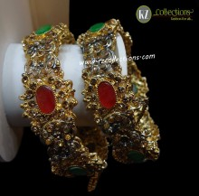 DECENT LOOK GOLD PLATED & POLKIE STONES 2 PIECES BANGLE