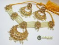 STYLISH GOLDEN BASED PEARL BEATS WITH TRADITIONAL LOOK NECKLACE SET