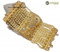 TRADITIONAL LOOK POLKIE & ZIRCON STONES GOLDEN BASED HAND KALAI BRACELET