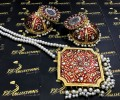 Golden Based Kundan And Meena Work Big Size PENDANT and JHUMKA with MALA