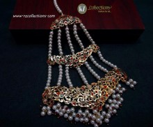 GOLDEN BASED HYDERABADI DESIGN NAURATAN LONG JHOOMER