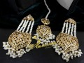 GOLDEN BASED HYDERABADI DESIGN EARRING WITH MATCHING TEEKA