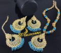 TRADITIONAL LOOK POLKIE STONES GAJRA BEATS PENDANT SET