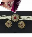 GOLD PLATED ZIRCON WITH SEMI PRECIOUS STONES NECKLACE SET
