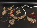 GOLD PLATED POLKIE & SEMI PRECIOUS STONES COMPLETE BRIDAL SET
