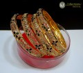STYLISH TRADITIONAL GOLDEN BASED DECENT LOOK 4 PIECES INDIAN BANGLE