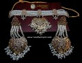 DECENT LOOK GOLDEN BASED HYDERABADI GULUBAND PEARL NECKLACE SET