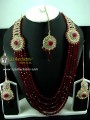 TRADITIONAL LOOK POLKIE STONES GOLDEN BASED 5 LAYERS LONG MALA BRIDAL SET