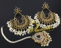 BEAUTIFUL DESIGN KUNDAN LOOK EARRING MATCHING POLKIE TEEKA
