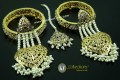 STYLISH GOLDEN BASED HYDERABADI EARRING & BANGLE WITH MATCHING TEEKA