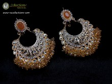 STYLISH GOLDEN BASED POLKIE STONES ALONG WITH GAJRA BEATS EARRING