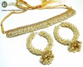 TRADITIONAL LOOK POLKIE STONES GOLDEN BASED HANGING GAJRA BEATS NECKLACE SET