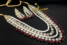 GOLDEN BASED KUNDAN STONES MALA SET