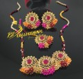 GOLDEN ANTIQUE BASED GAJRA BEATS MALA NECKLACE SET