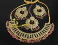 TRADITIONAL LOOK POLKIE STONES PINK BEATS NECKLACE SET