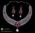 GOLD PLATED WITH ZIRCON INDIAN NECKLACE SET