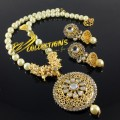 TRADITIONAL LOOK GAJRA BEATS PEARL PENDANT SET