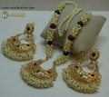 STYLISH GAJRA BEATS WITH POLKIE STONES NECKLACE SET