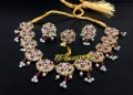 GOLDEN BASED HYDERABADI DESIGN NECKLACE SET