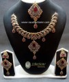 TRADITIONAL LOOK POLKIE & SEMI PRECIOUS STONES ANTIQUE TOUCH NECKLACE SET