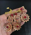 GOLDEN BASED HYDERABADI DESIGN WITH SEMI PRECIOUS STONES PENDAN SET